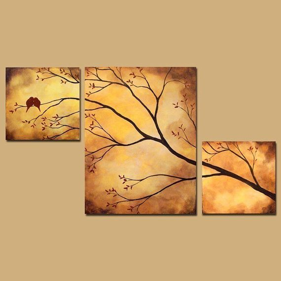 Abstract Triptych Painting, Birds in Tree Branch Painting, 42 x 24, Large Art via Etsy