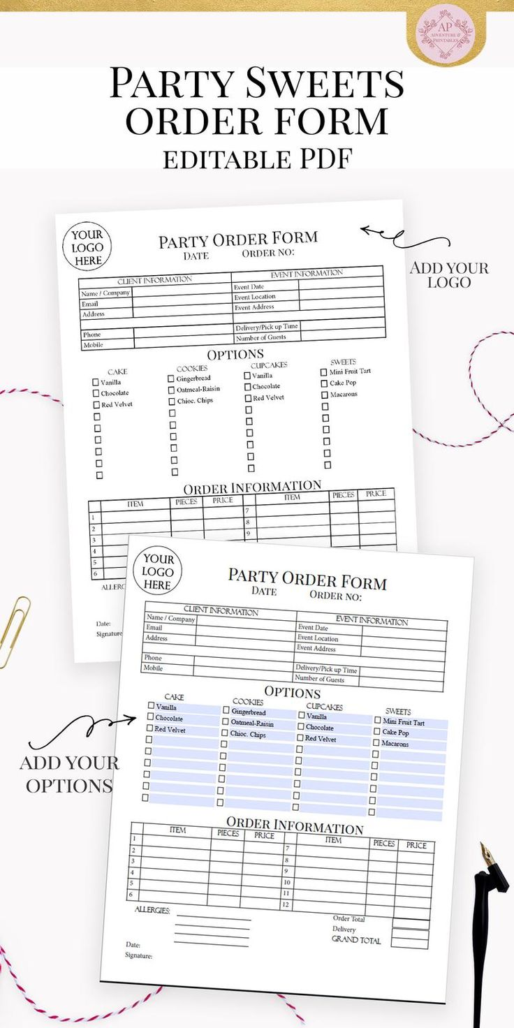 Party Cake And Sweets Order Form Editable Bakery Forms