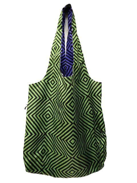 GAGA リバーシブル トートバッグ 幾何学 ナイロン エコバッグ 紫 パープル 緑 グリーン BAG かばん B69516 レディース