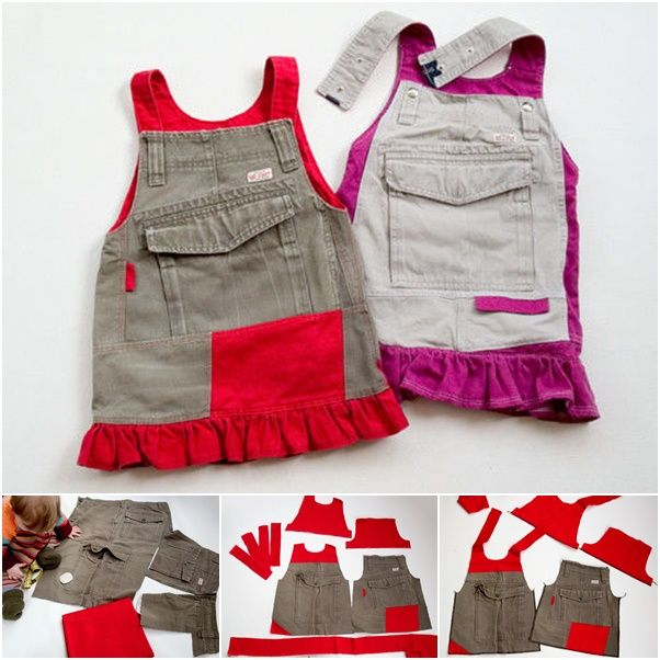 How to DIY Girls Jumperall Dress from Old Cargo Pants | www.FabArtDIY.com LIKE Us on Facebook ==> https://www.facebook.com/FabArtDIY