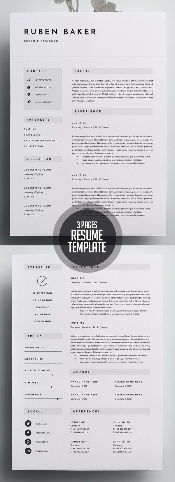 Creative 3 Page Resume Template #minimalresume #psdresume #resumetemplates #clean #minimal #job #word