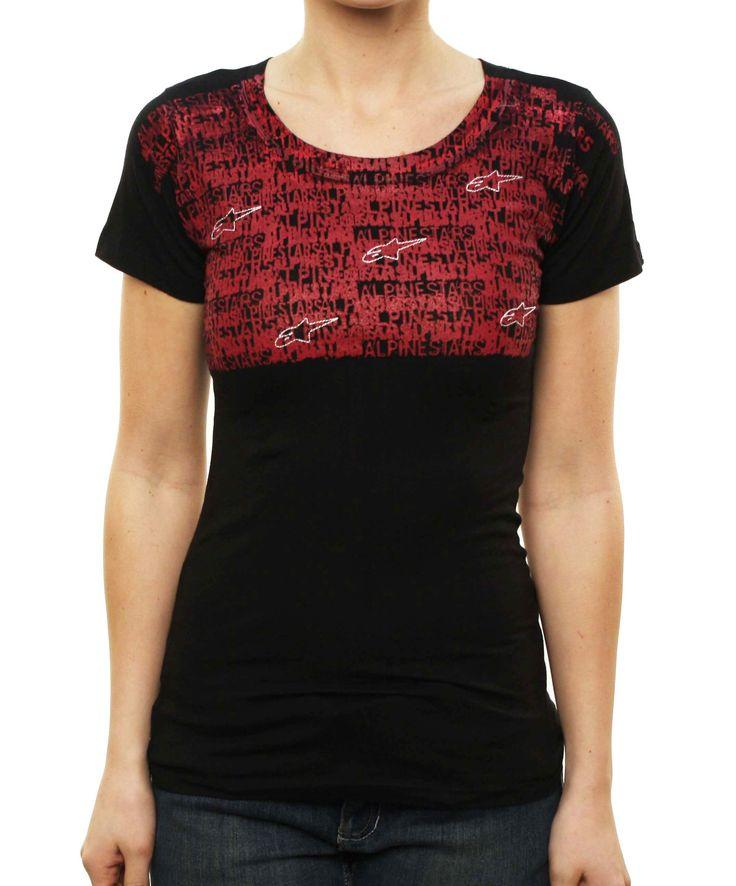 """Alpinestars Women's Astars """"""""Shattered Skinny Tee"""""""" Graphic T-Shirt Black"""