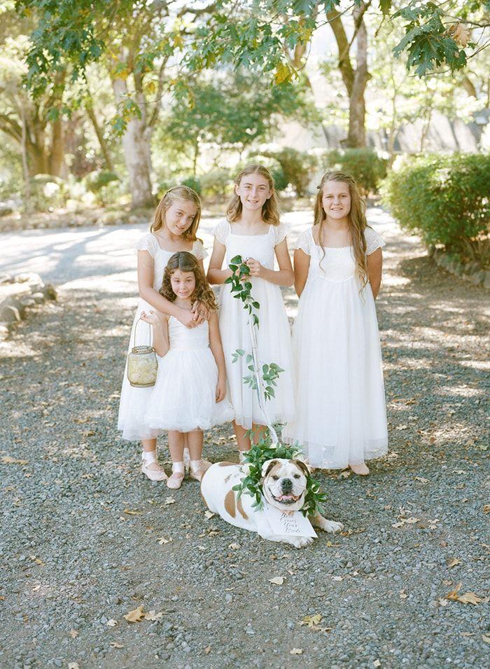 Sweet flower girls in mixed whites.