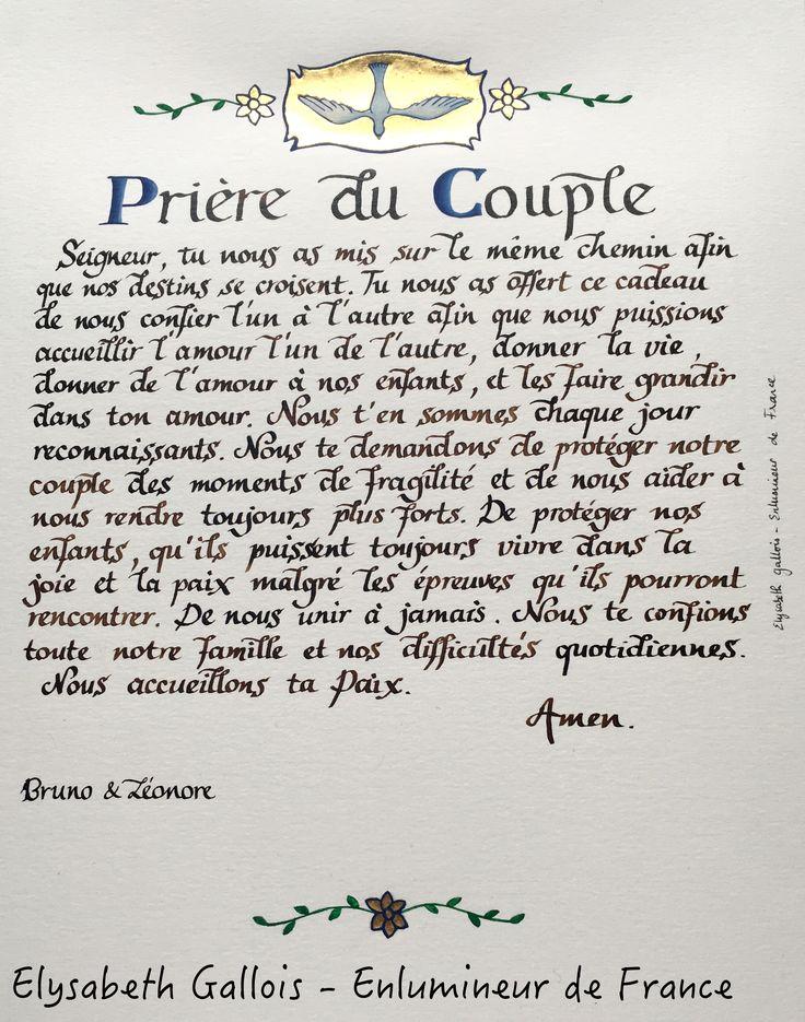 Elysabeth Gallois - Enlumineur de France - prière de couple - cadeau de mariage - http://www.elysabethgallois.com