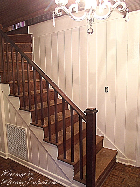 Painting Wood Panel Walls: Instead Of Sheetrock Up My Stairs This Would Be Better