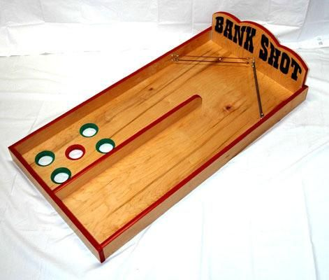 """Description Bank Shot Indoor and Outdoor Carnival Game All games are handmade at our facility using quality 3/4"""" Birch Plywood. Description: Game Description:"""