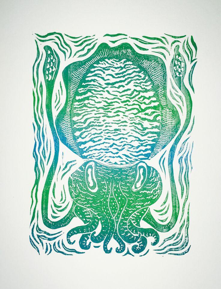 Cuttlefish linocut print - horizontal aqua fade. by HuPaLinocuts on Etsy https://www.etsy.com/uk/listing/558049949/cuttlefish-linocut-print-horizontal-aqua