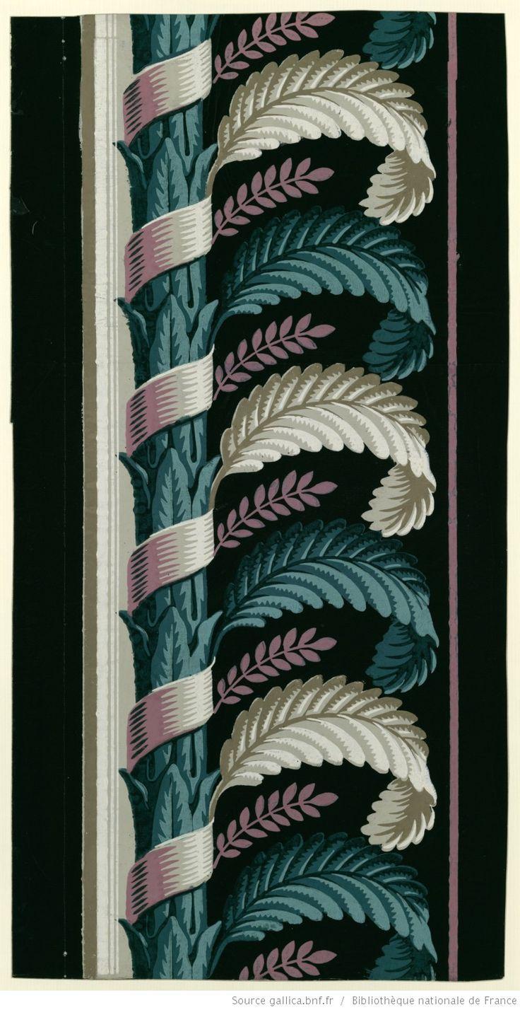 [Manufacture Jacquemart et Bénard. Bordure. Une bande de montant de feuillage autour duquel s'enroule un ruban et d'où jaillissent des feuilles stylisées] : [papier peint] | Gallica