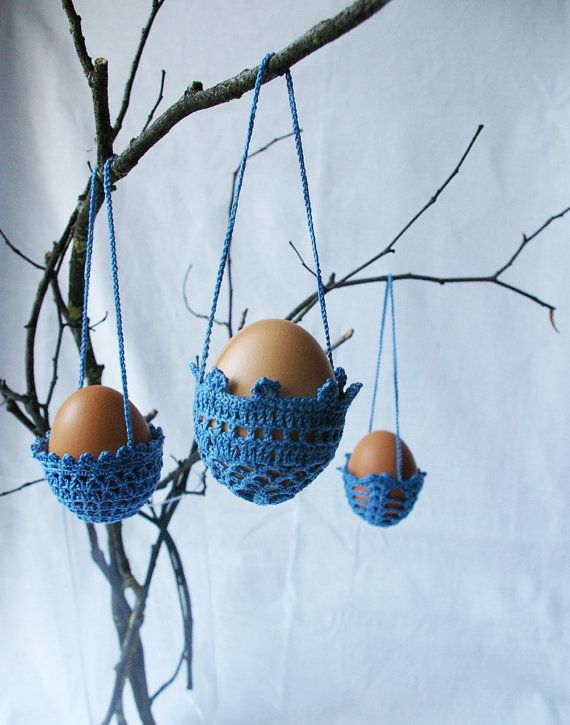 crocheted egg baskets by Mikalinos