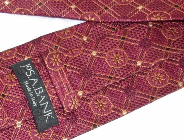 Jos A Bank Men's XL Burgundy 100% Silk Tie Gold Medallion Made in Italy     A033 #JosABank #Tie