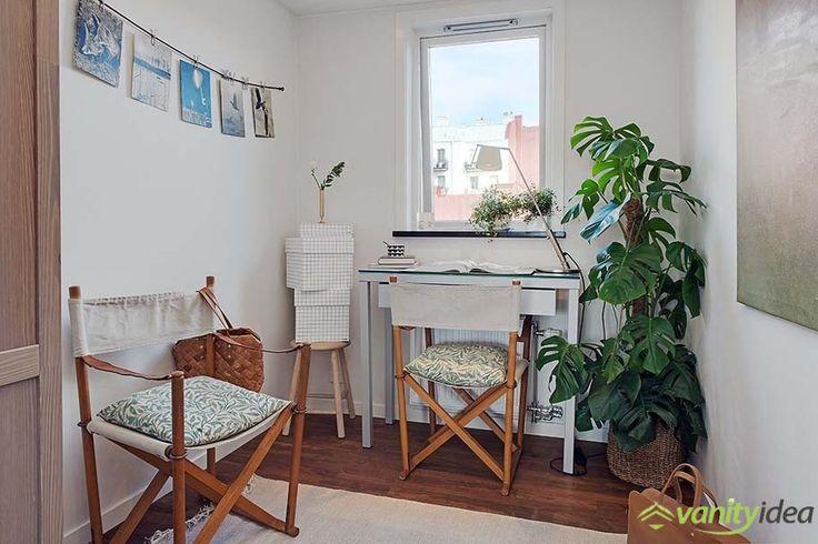 study desk near the window