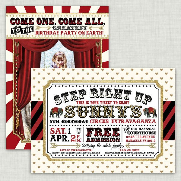 26 best Carnival and Circus Birthday Invitations images on – Order Party Invitations