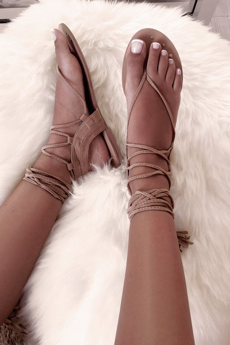 These adorable sandals are made from a tan faux suede and feature a strappy braided design. These flats are the perfect addition to any outfit! Straps can be worn tied up leg or wrapped around ankle. By Billini.