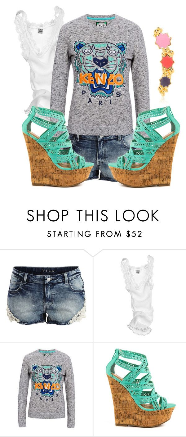 232. Casual Spring Outfit. Kenzo Tiger Sweatshirt, Denim Shorts, White tank, Teal Cork Sandals, Star Ear Cuff by kohlanndesigns on Polyvore featuring Kenzo, Oscalito, VILA, JustFabulous and LeiVanKash