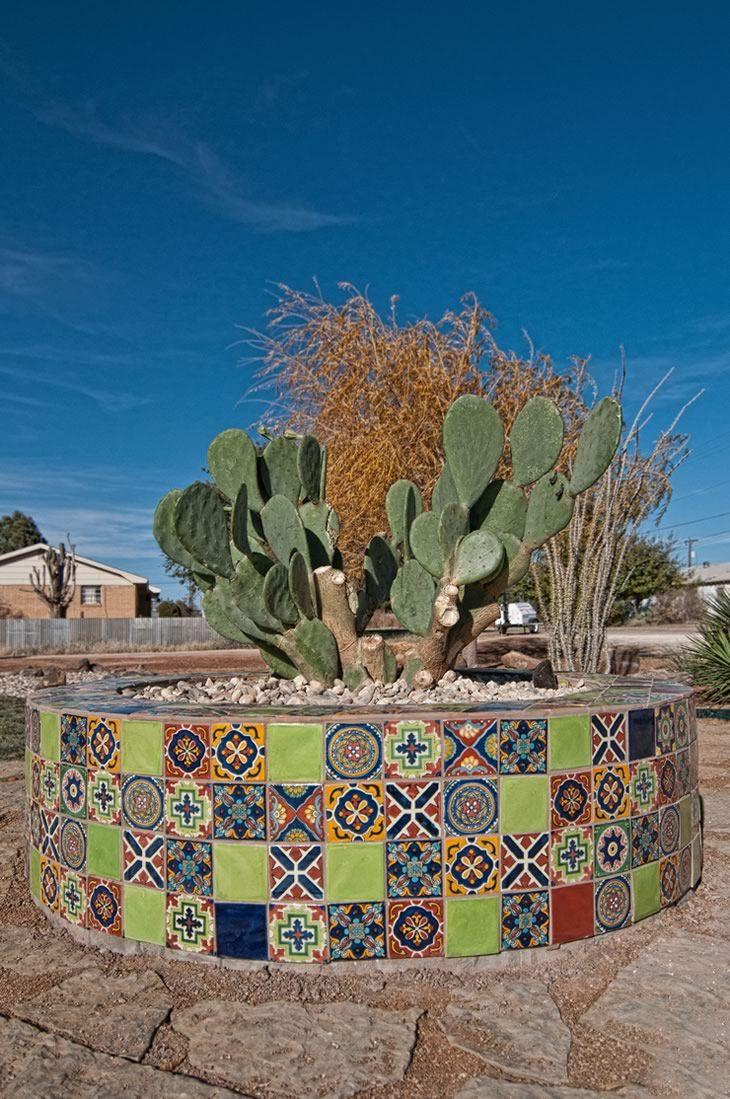 Talavera ceramic birdbaths eclectic bird baths phoenix by - Mosaic Tile Pot Created With Mexican Talavera Tiles