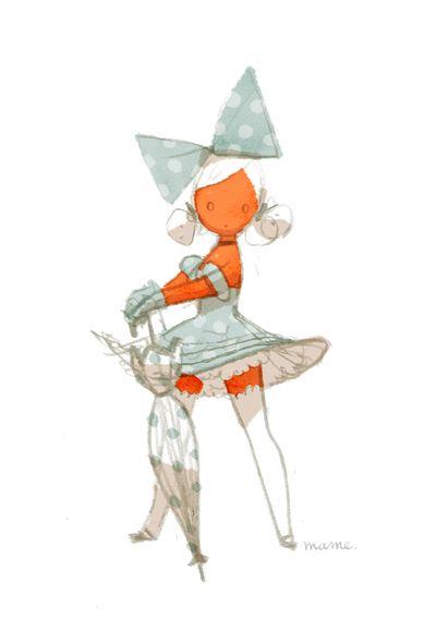 mamefuk ✤    CHARACTER DESIGN REFERENCES   キャラクターデザイン   çizgi film #girl #umbrella #dress #drawing ✤