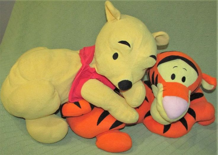 "Disney Pillow Pals WINNIE the Pooh & TIGGER 21"" Long PLUSH Stuffed Fisher Price #Disney"