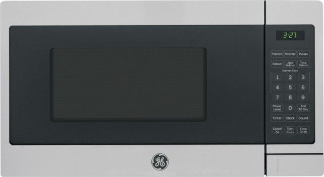 GE - 0.7 Cu. Ft. Compact Microwave - Stainless Steel/Black - Front Zoom