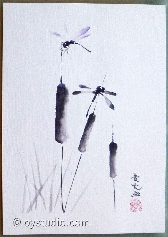 Sumie impresión de la pintura zen original por FlowWithTheBrush