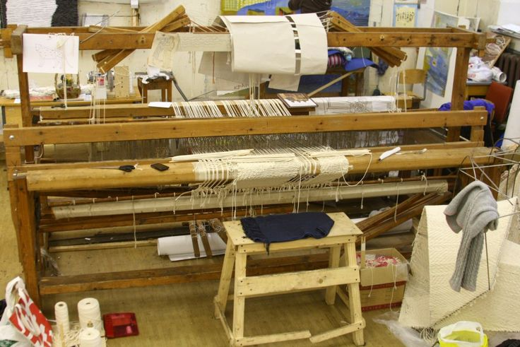 Weaving loom in diploma class of St. Petersburg Art and Design Academy