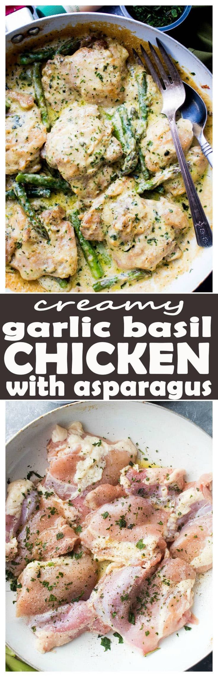 Thank you Gourmet Garden and Kroger for sponsoring this post! All opinions are 100% my own.Creamy Garlic Basil Chicken with Asparagus - This delicious and creamless Creamy Garlic Basil Chicken is prepared in a skillet with a flavorful garlicky basil sauce and asparagus spears.Creamy Garlic Basil Chicken, we have been waiting for you!Hey ya, friends! How's this for creamless creamy chicken? RIGHT? It's creamy, but without the cream! I mean, genius or what? Evaporated milk is my forever...