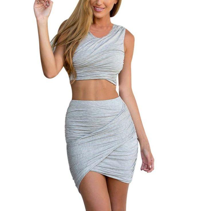 Women's Crop Top Short Skirt Set