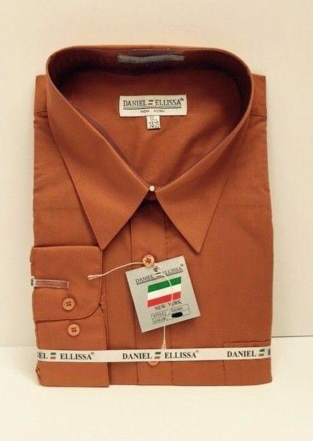 Daniel Ellissa Orange Dress Shirt LS w/Pocket & Convertible Cuff Men 18.5 - 22.5 #DanielEllissa