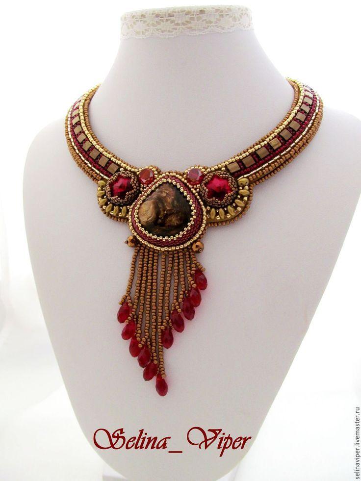 """Купить Колье """"Элизабет"""" - ярко-красный, бронзовый, колье, украшение на шею, бронзит, кристаллы сваровски"""