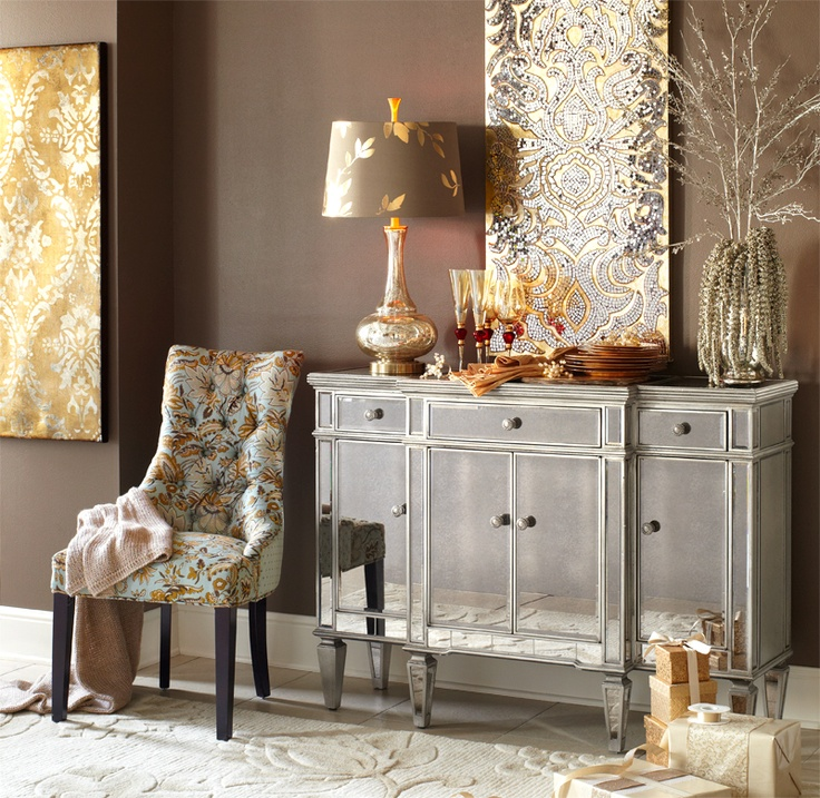 Buffet And Mirrored Wall Art For Living Area Dress Up Your Dining Room With Pier 1 Hayworth Jacobean Laurier Chair