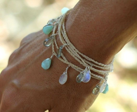 I think I'd wear this all summer. peruvian blue opal, rainbow moonstone and moss aquamarine briolettes #garnethill #summerstyle