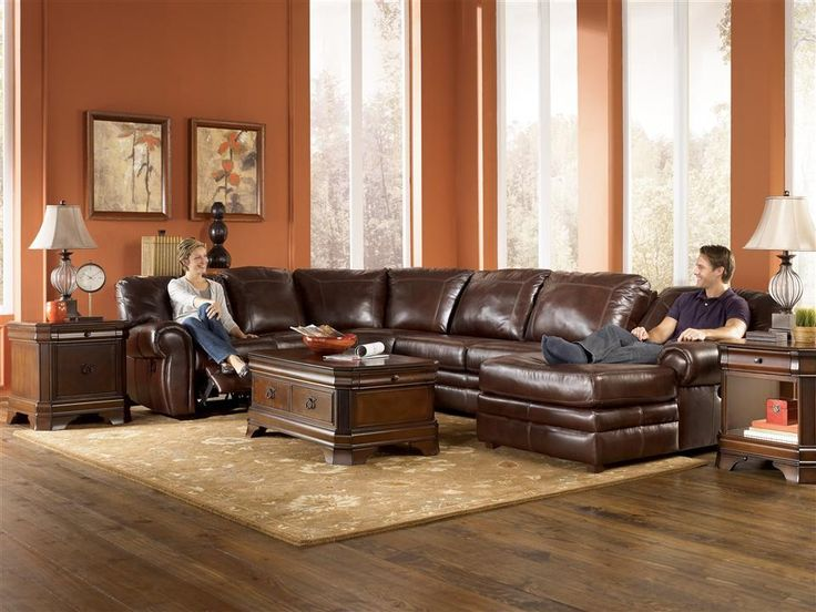 23 best ideas about leather sectional on pinterest for Ashley brown leather chaise