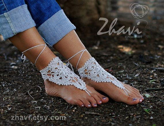 Bridal Foot jewelry  Beach wedding Gray Crochet Barefoot Sandals Nude shoes Beach wedding anklet, Footless sandals Spring wedding Gift