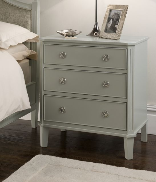 French Grey Painted 3 Drawer Bedside Table Juliettes Interiors Luxury Furniture Redo Pinterest Bedroom And