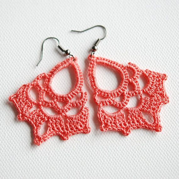 Coral crocheted lace earrings by Shepit on Etsy