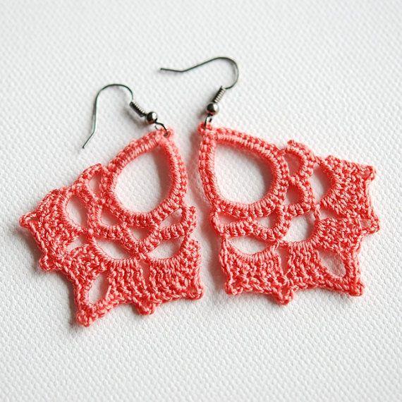 Pendientes de coral encaje de ganchillo por Shepit en Etsy