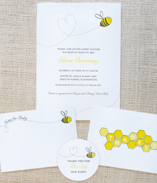Bee Themed Free Printable    http://www.ontobaby.com/free-printables/bumble-bee-themed-invitation-suite/#