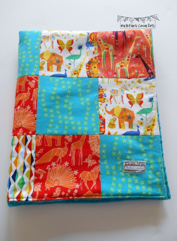 Minky Baby Patchwork Blanket Quilt Gender by KristensCoverlets