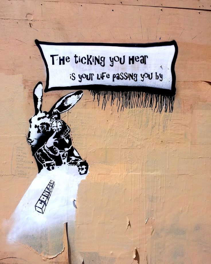 Originally the White Rabbit in 'Alice's adventures in Wonderland' and now a bit of political/social commentary stencil art on London Road in Brighton.