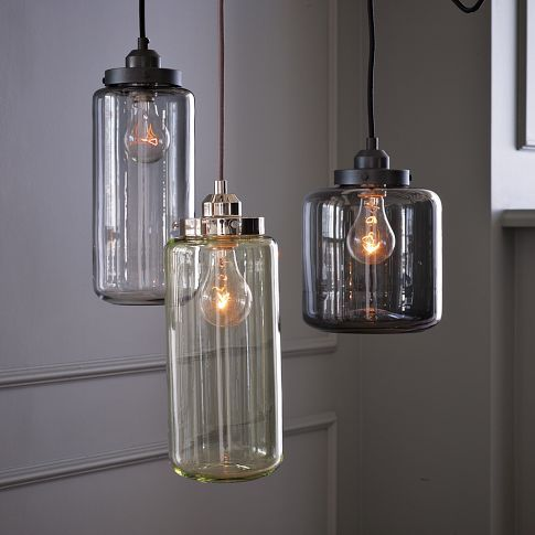 glass jar pendantsWestelm, Jars Pendants, Dining Room, Lights Fixtures, Glasses Jars, Pendant Lights, Pendants Lights, Jars Lights, West Elm