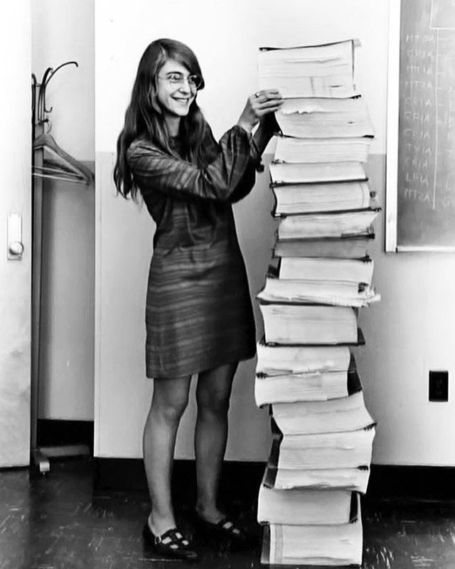 Margaret Hamilton standing next to listings of the Apollo Guidance Computer source code – the on-board flight software that got man to the moon. A female software engineer at the time was a pretty rare sight, but that didn't stop Hamilton from leading the team that developed the software for the Apollo 11 mission in 1969. Hamilton was later given NASA's Exceptional Space Act Award for her work. Hamilton also coined the term 'software engineer'. #womeninscience #Apollo11 #margarethamilton