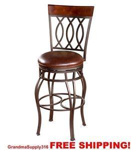 Tall Bar Stools 34 inch Bar Furniture Class Leather Seat Rustic Pub Stools NEW