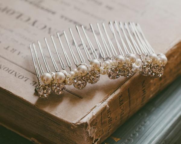 Wedding Hair Combs - Classic Pearl Bridal Comb, Swarovski Pearls & Crystals, Joy