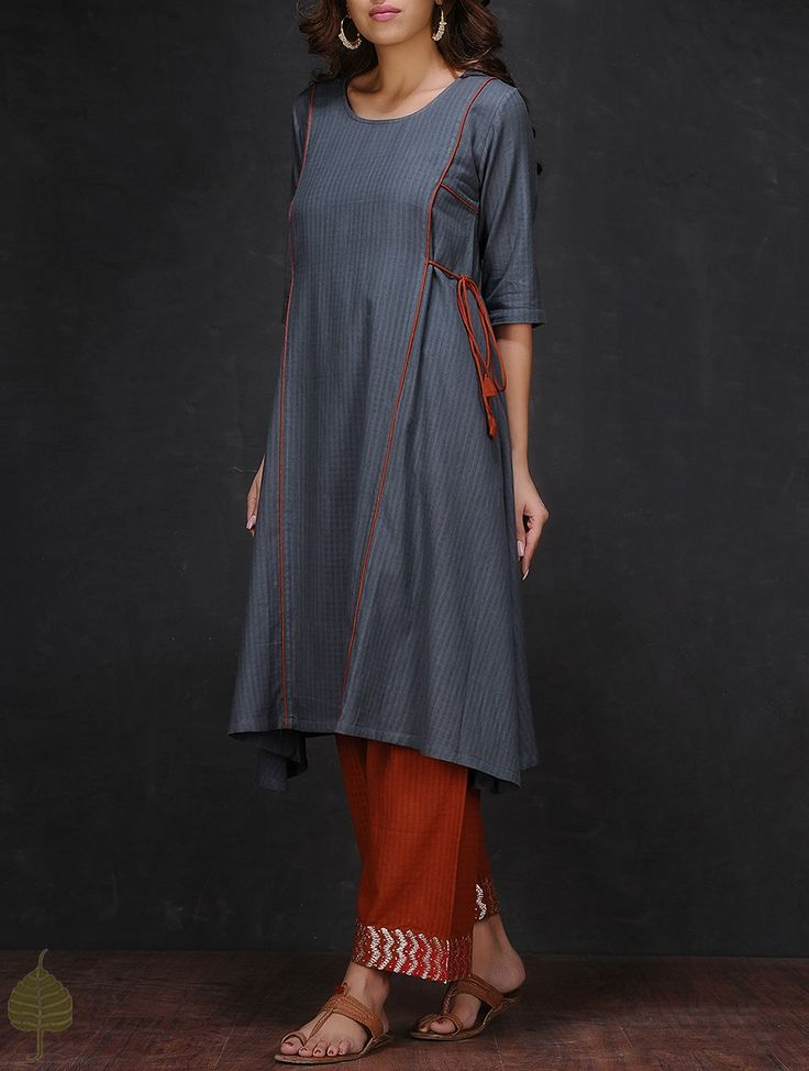 Buy Grey Round Neck Cotton Kurta by Jaypore Women Kurtas The Color Bouquet Contemporary and zari embroidered palazzos Online at Jaypore.com