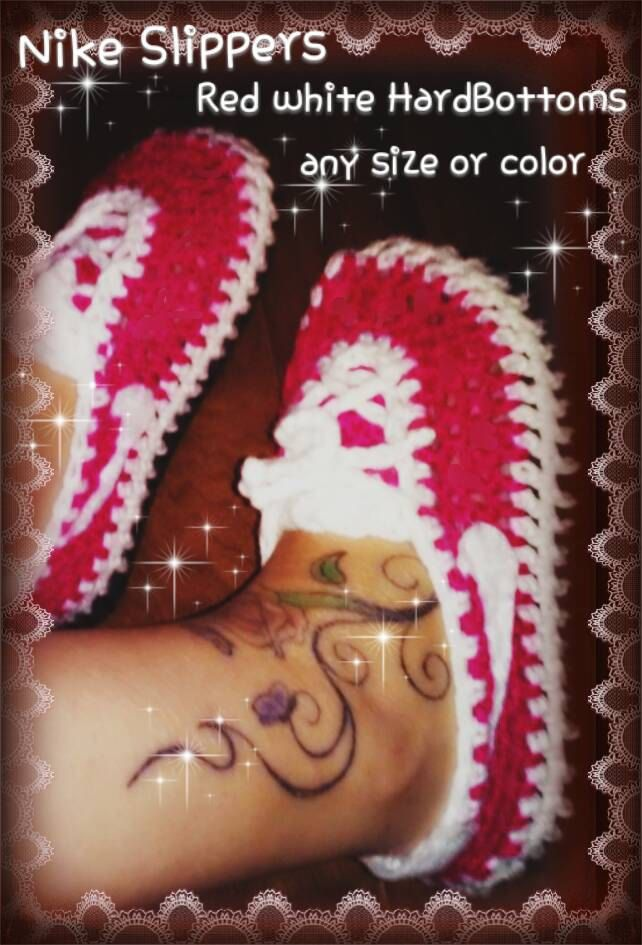 Adult Crochet Nike slippers,crochet Nike HardBottom sneakers,homemade Nike slippers,pink white Nikes,any size colors.ill make any colors by createArt2love on Etsy