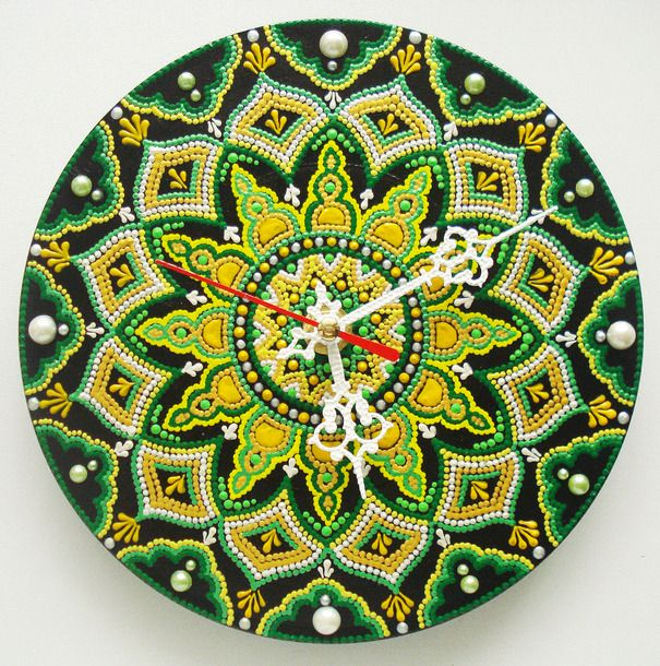 "Ручная работа Часы ""Весна"" диаметр 17,5 см"