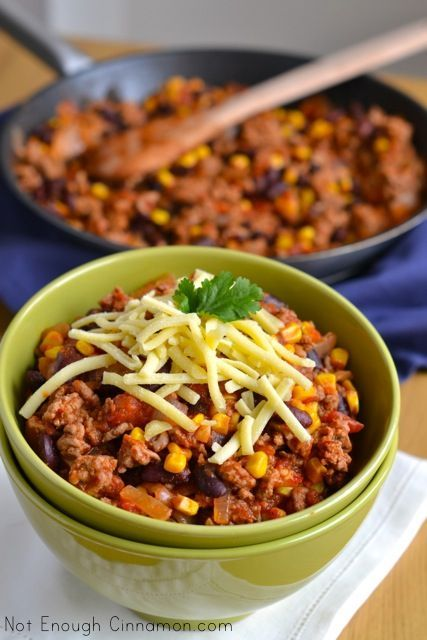 20-Minute Turkey Chili for a one-pot healthy meal. (from Not Enough Cinnamon)