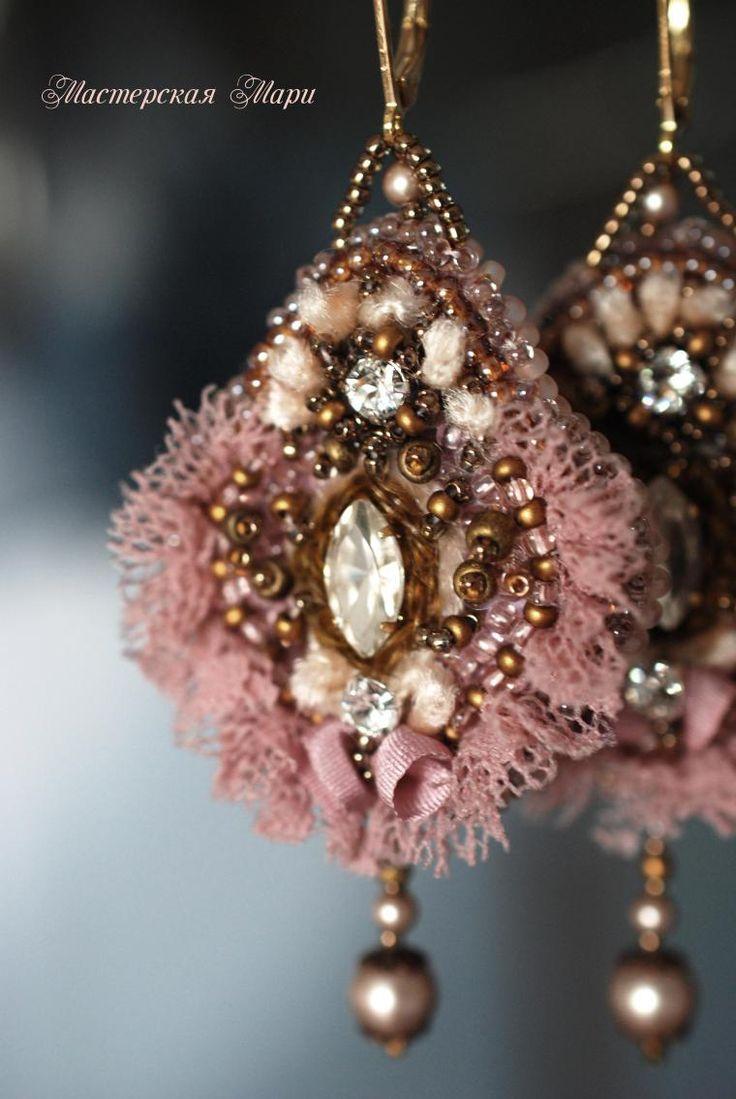 Серьги пепельно-розовые в старинном стиле. Ручная вышивка - Ярмарка Мастеров - ручная работа, handmade