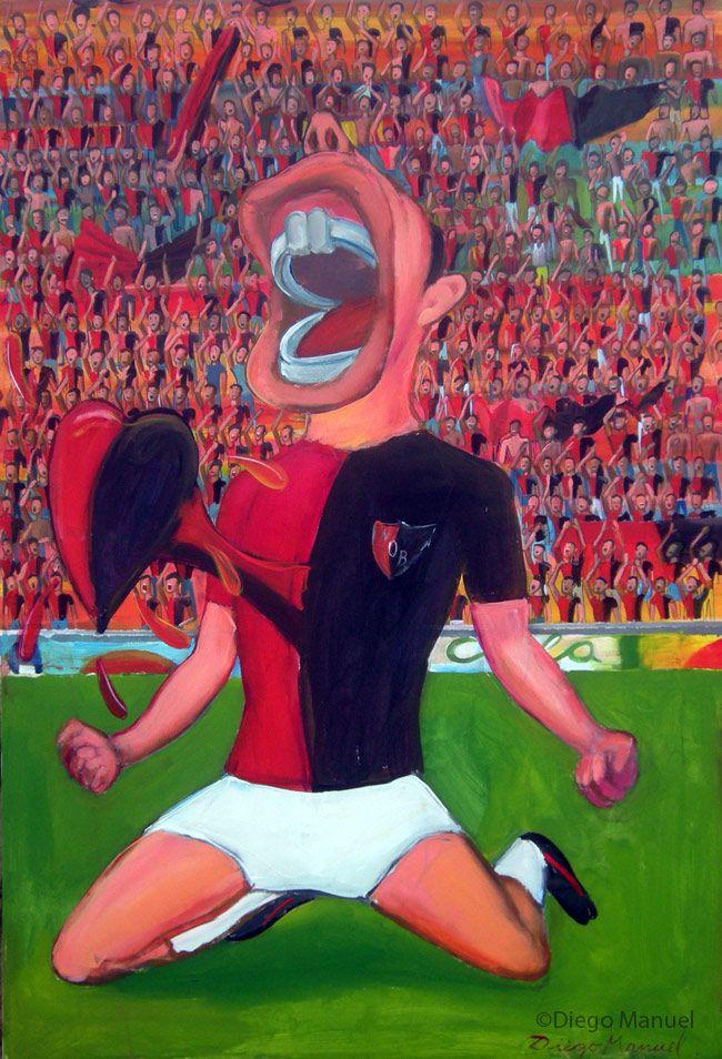 Goool de Newells! , acrylic on canvas, 60 x 95 cm. 2014. By Diego Manuel