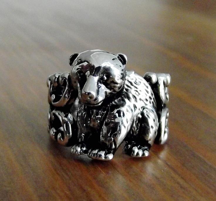 Wild Bear Ring. $22.00, via Etsy.