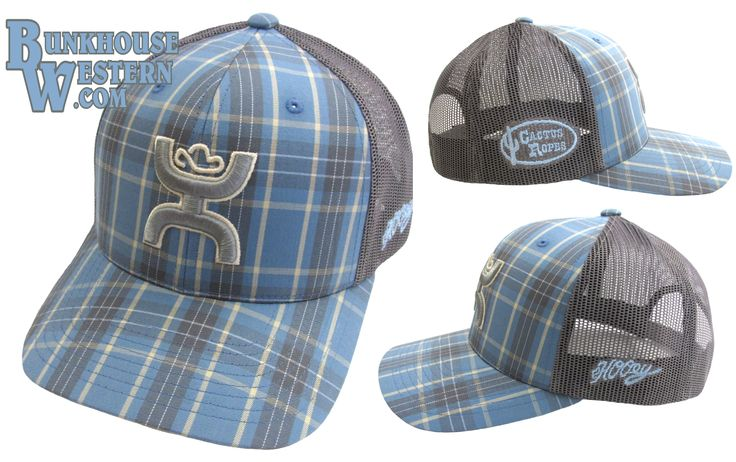 Cactus Ropes, Blue and Gray Plaid Trucker Cap by HOOey, Rodeo, Cowboy, Calf Roping, PRCA, NFR, CNFR, $29.98, http://www.bunkhousewestern.com/CR4_p/cr004.htm